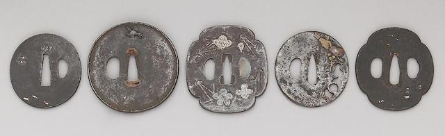 Fifteen mixed metal inlaid iron tsuba Edo Period