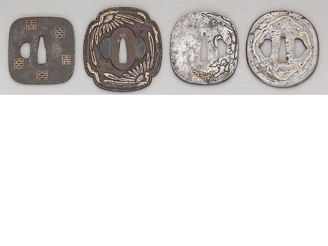 Seven inlay decorated iron tsuba Edo Period