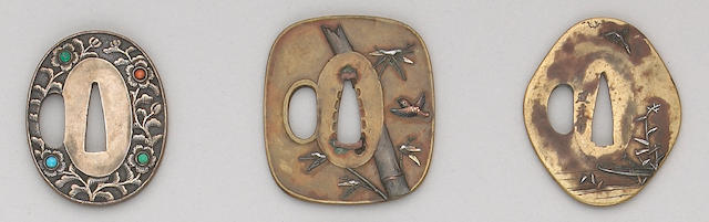 Three soft metal tsuba Edo Period, Circa 1800