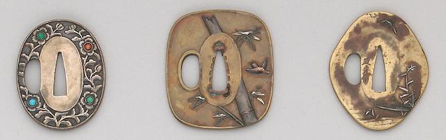 Three soft metal tsuba Edo Period, Circa 1800