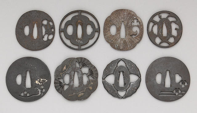 Eleven iron sukashi tsuba Edo and Meiji Periods