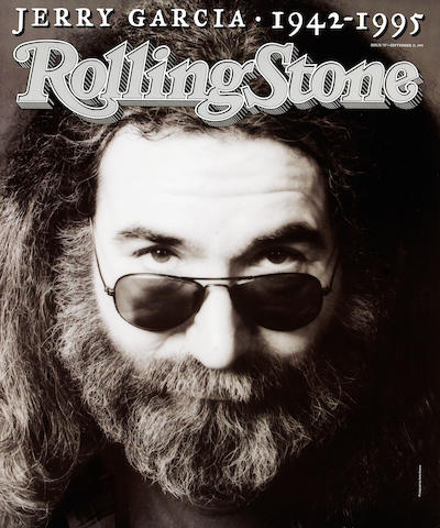 A poster of the cover of 'Rolling Stone' magazine commemorating Jerry Garcia, 1995