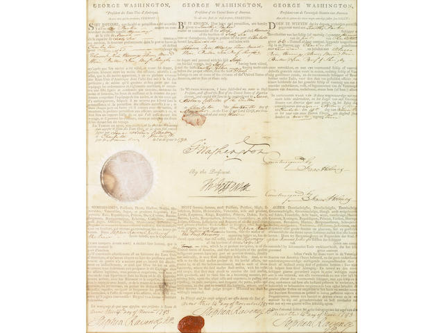 DS George Washington & Thomas Jefferson, Ship's Papers, 1793, framed
