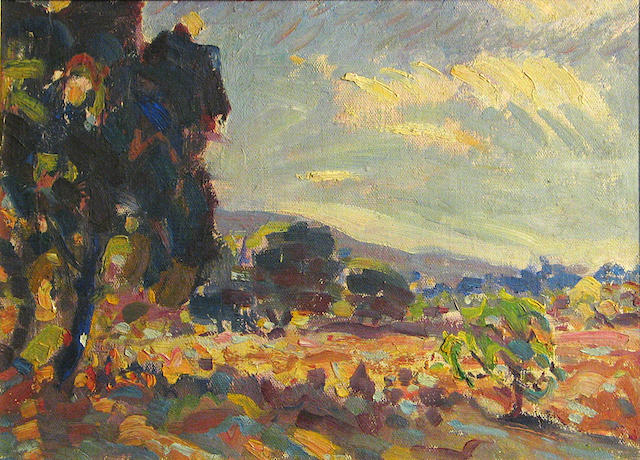 Edwin Roscoe Shrader (American, 1878-1960) Summer landscape 11 x 16in