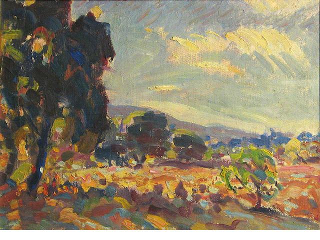 E. Roscoe Shrader, Landscape, o/bd