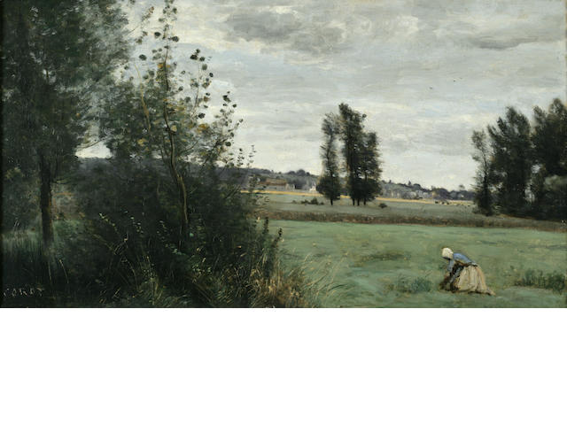 Jean-Baptiste-Camille Corot (French, 1796-1875) A landscape with a figure kneeling in the foreground 12 1/4 x 22in (31.2 x 55.9cm)