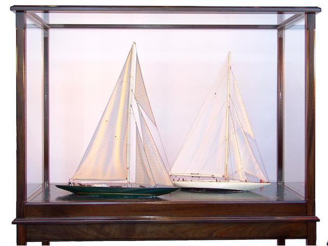 A diorama of the 1930 America's Cup Final 67 1/2 x 25 x 54in
