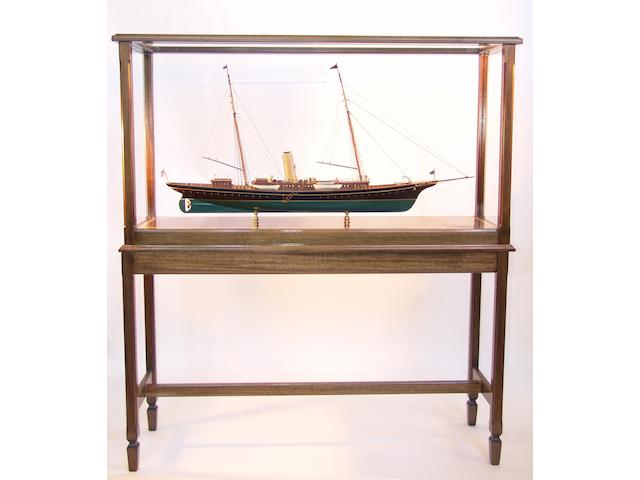"A scale model of J P Morgan's private steam yacht ""Corsair III of 1899,"" 20th century case 50 x 13 x 56in"