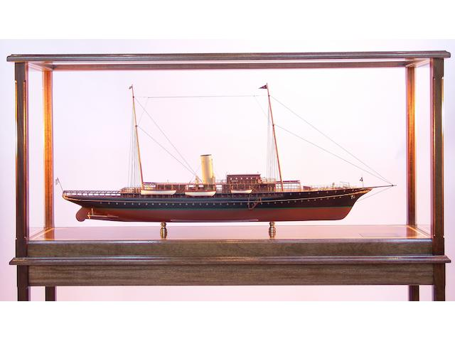 "A good scale model of J P Morgan's private steam yacht ""Corsair IV,"" overall 57 x 16 x 56in"