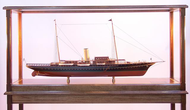 """A good scale model of J P Morgan's private steam yacht """"Corsair IV,"""" overall 57 x 16 x 56in"""