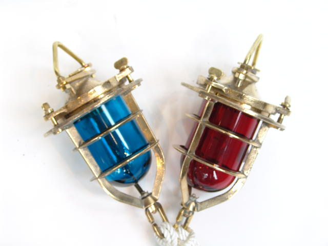 A pair of solid brass Royal Navy convoy lights 7 by 15 in 2