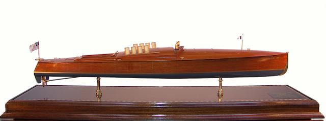 "A scale model of the competition speedboat ""Dixie II,"" 20th century 51 x 13 ½ x 12in"