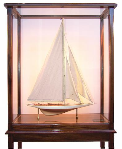 """A model of the 1934 America's Cup defender """"Rainbow,"""" 20th century 34 x 14 x 70in"""