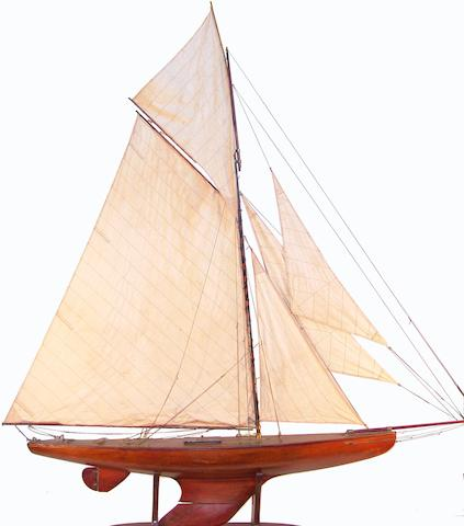 A large gaff-rigged pond yacht 83 x 10 x 96in