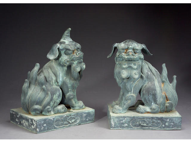 A pair of large bronze figures of koma-inu 19th/20th Century