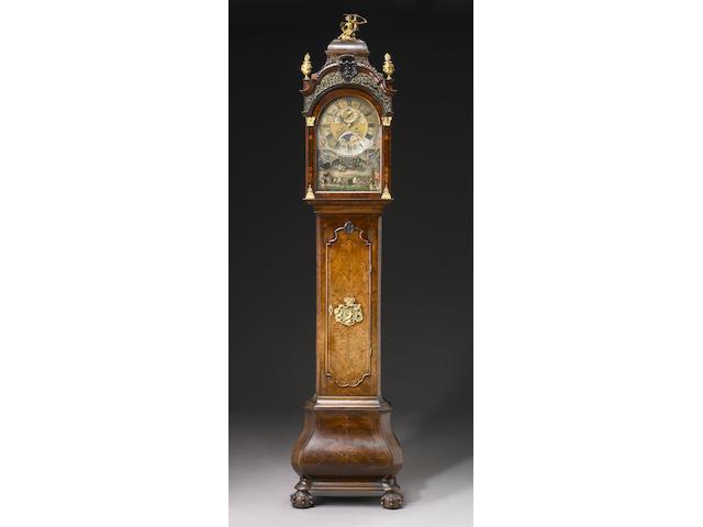 A good Dutch inlaid walnut automaton tall case clock