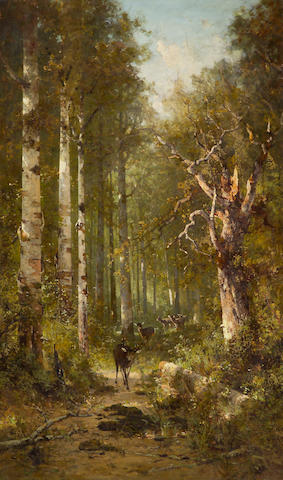 Thomas Hill (1829-1908) Deer Walking on a Wooded Path 60 x 36in