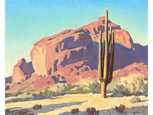 Maynard Dixon (1875-1946) Red Rocks and Cactus, 1945 (No.746) 16 x 20in