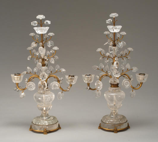 A pair of Louis XVI style gilt-metal and rock crystal candelabra