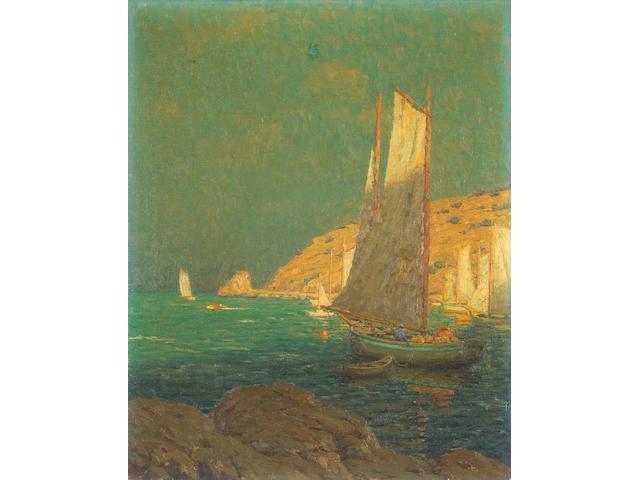 Granville Redmond  (1871-1935) Sailing among Golden Bluffs 25 x 20in
