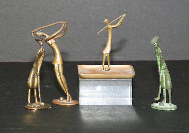 An Art Deco bronze golfing figure (frog), circa 1930,