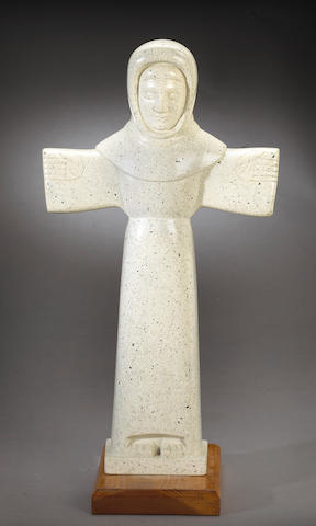 Beniamino Benevenuto Bufano (Italian/American, 1898-1970) Saint Francis of Assisi height with base 32 1/2in (82.5cm)