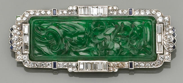 An art deco, jadeite jade, diamond, sapphire, and platinum brooch pendant,