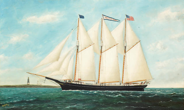 Solon Francis Montecello Badger (American, 1873-1919) The Three-Masted Schooner 'James R. Talbot' 22 x 36in (55.9 x 91.4cm)