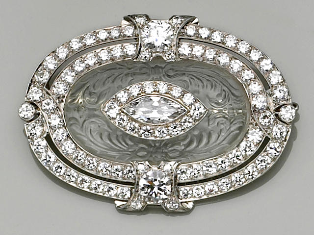 An art deco rock crystal, diamond and platinum brooch,