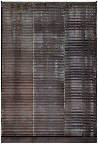 "Eric Orr, Copper water sculpture, 48.5"" tall X 33"" wide X 2.25"" deep"
