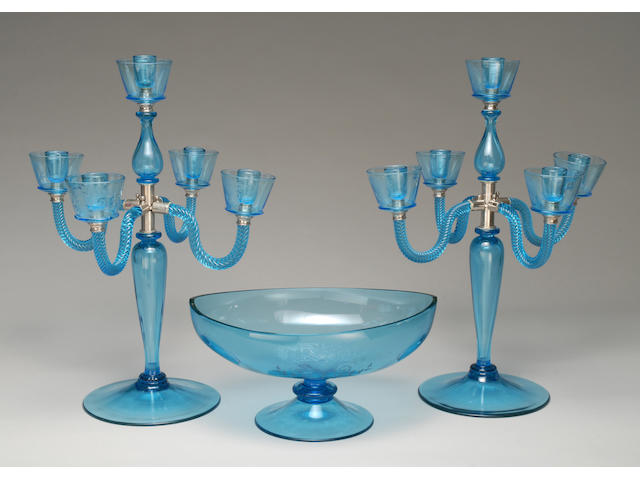 A Steuben wheel-engraved celeste blue glass table garniture