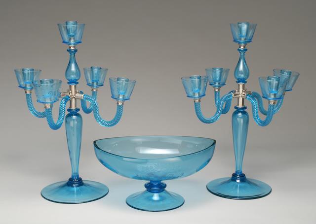 A Steuben wheel-engraved celeste blue glass table garniture