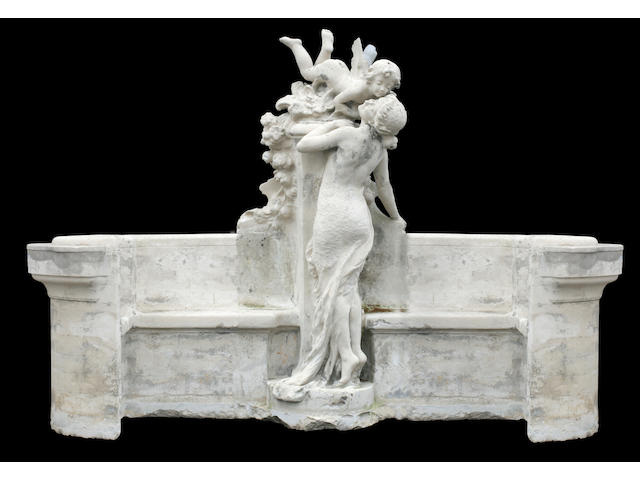 An imposing French Belle Époque carved limestone bench- to be delivered