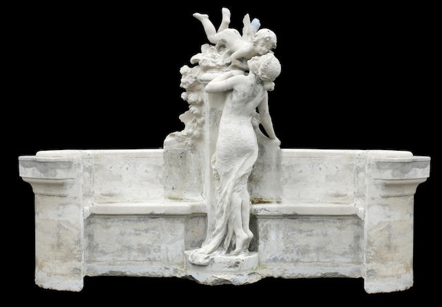 An imposing French Belle Époque carved limestone bench <BR />late 19th century