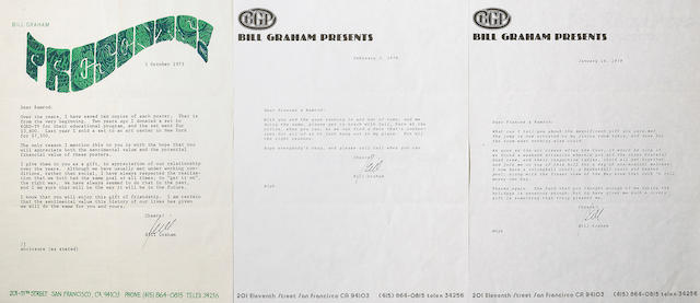 Three Bill Graham signed letters to Ram Rod, 1970s