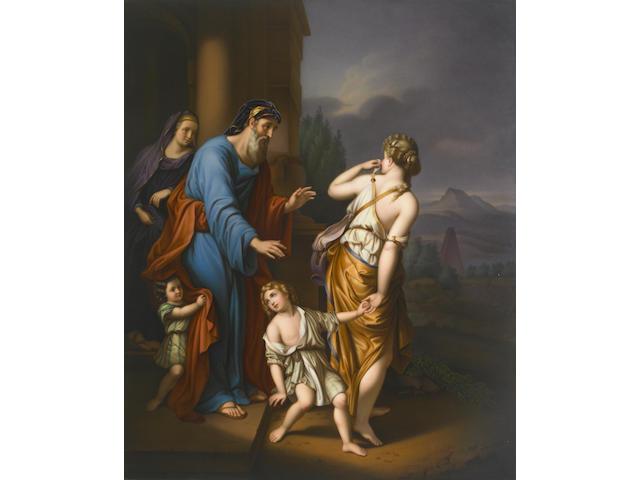 A Berlin (K.P.M.) porcelain plaque: The Banishment of Hagar and Ishmael