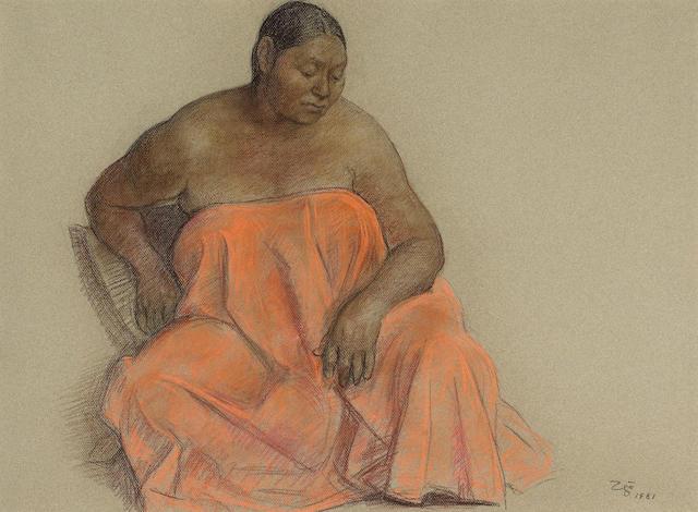 Francisco Zúñiga  (Mexican, 1912-1998) Rosa, 1981 21 1/2 x 29in (54.6 x 73.7cm)