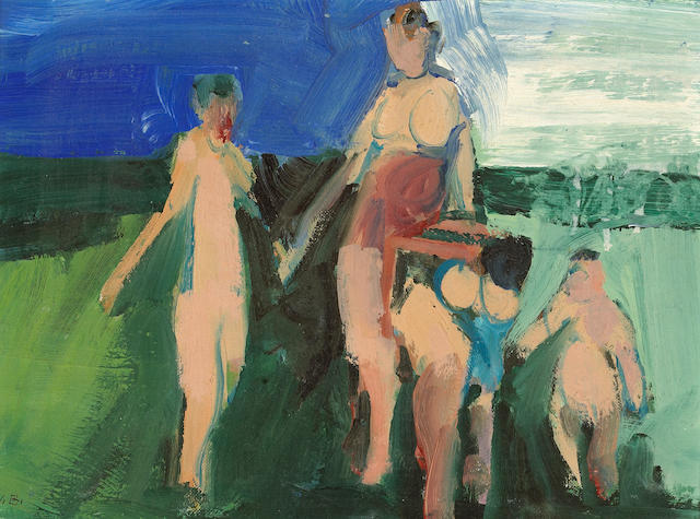 William Theophilus Brown (American, b.1919) Untitled (Figures) 9 x 12in (22.8 x 30.5cm)