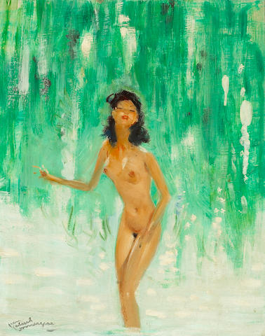 Jean-Gabriel Domergue (French 1889-1962) Naïade 16 X 13in (40.6 x 33cm)
