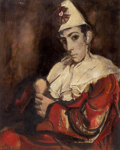 Alvaro Delgado (Spanish, b.1922) Pierrot en Rojo 36 1/4 x 28 3/4in (92.1 x 73cm)