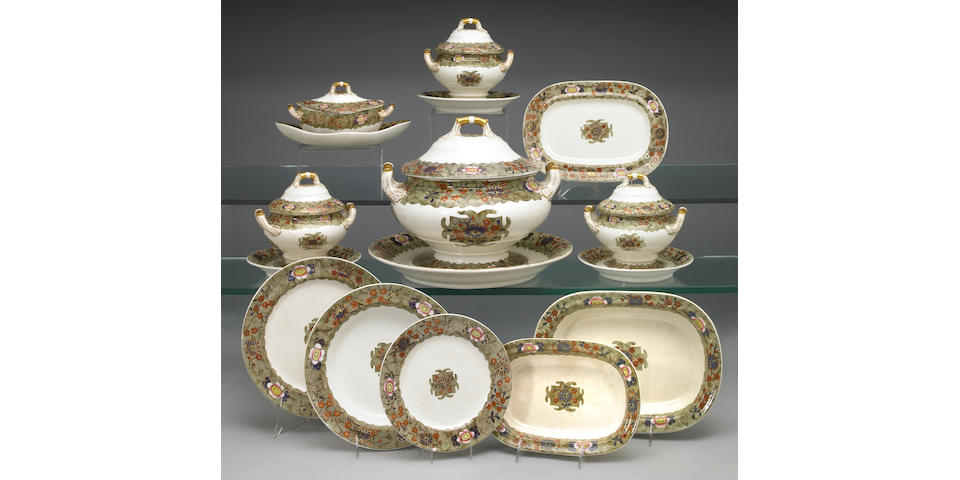 A Spode creamware part dinner service