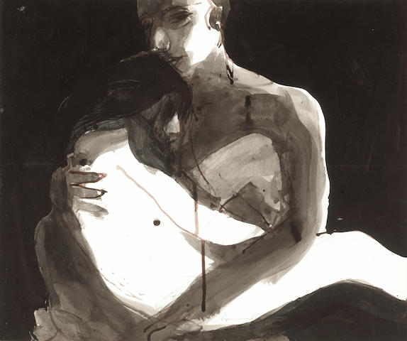 Nathan Oliveira (American, b.1928) Man and Woman, Embrace, 1966 16 x 19in (40.6 x 48.3cm)