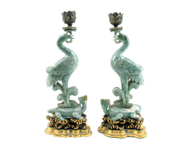 A pair of Chinese jadeite phoenix