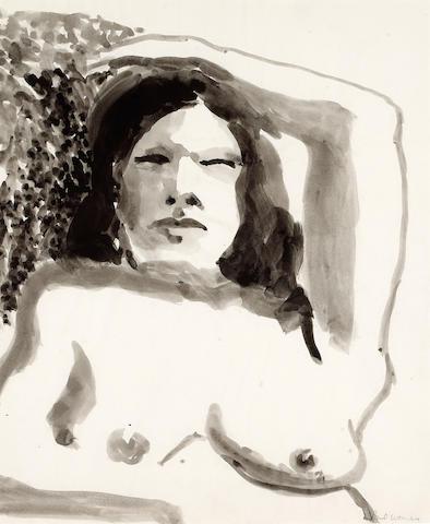 Paul Wonner (American, b.1920) Female Nude with Arm Raised, c.1962-64 17 x 14in (43 x 36cm)