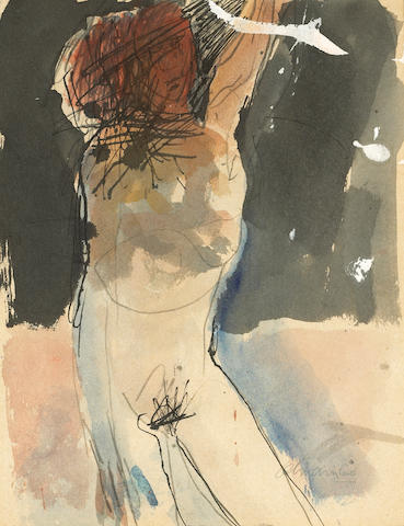 Nathan Oliveira (American, b.1928) Figure with Arm Over Head #2, 1960 11 3/4 x 9in (29.8 x 22.8cm)