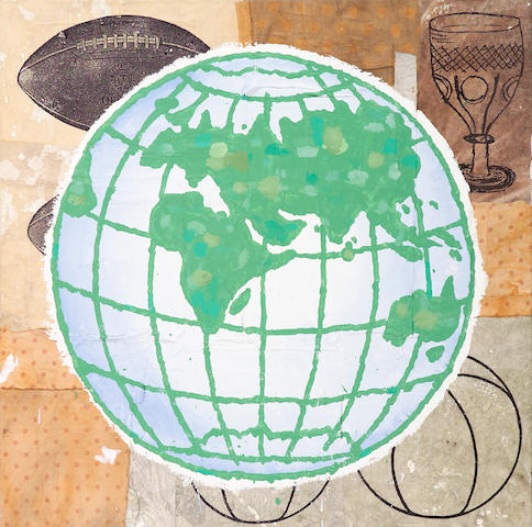 Donald Baechler, Globe, 1999, Acrylic and faric on canvas, 40 X 40 in., Provenance: Galerie Thaddaeus Ropac