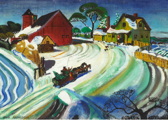 Robert Arneson (American, 1930-1992) Winter Farm Scene, 1949 10 x 14in (25.5 x 35.5cm)