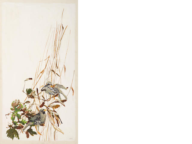 Viola Frey (American, 1933-2004) A pair of birds in tall grass 53 1/2 x x 30in (135.9 x 76.2cm)
