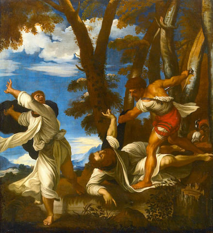 After Titian (Tiziano Vecelli), (Tiziano Vecelli) The martyrdom of Saint Peter Martyr 41 1/2 x 38in (105.5 x 96.6cm)