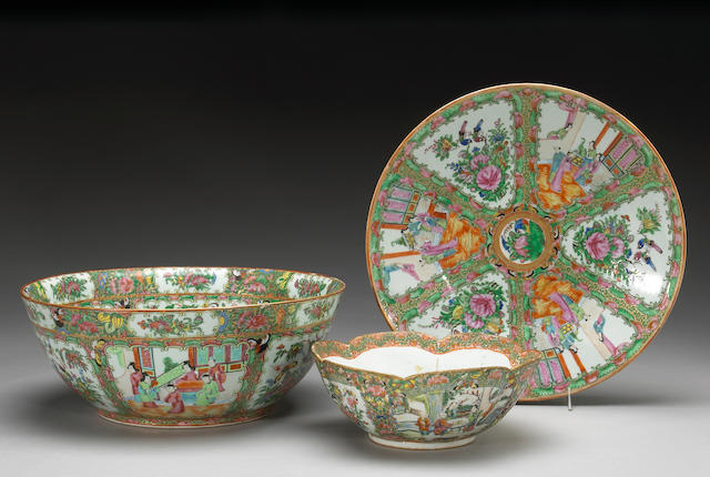 Three 'Rose Medallion' export porcelains Late 19th and Early 20th Centuries